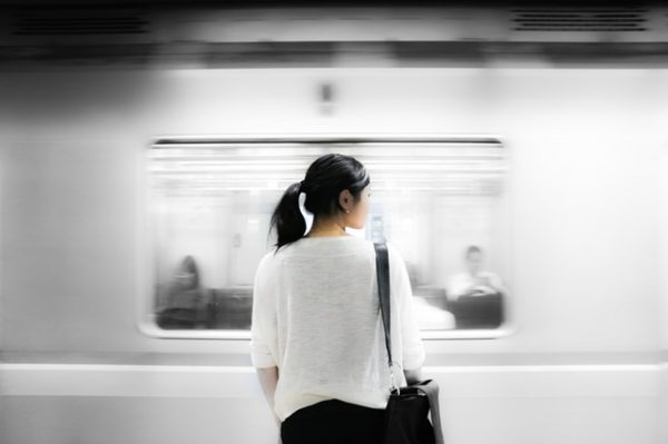 Woman looking at Inbound Marketing train